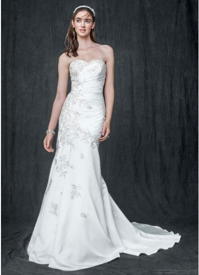 Petite Satin Wedding Dress With Sweetheart Neck David S Bridal