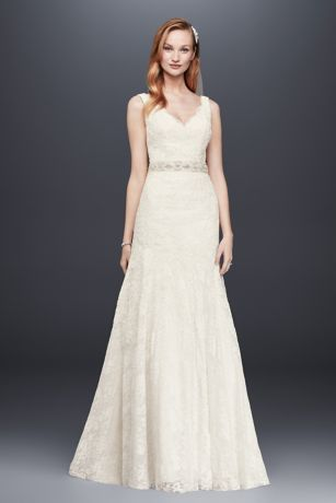 Jewel lace mermaid scalloped petite wedding dress davids bridal mouse over to zoom junglespirit Gallery