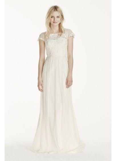 Petite Cap Sleeve Tulle Sheath with Lace Applique | David\'s Bridal