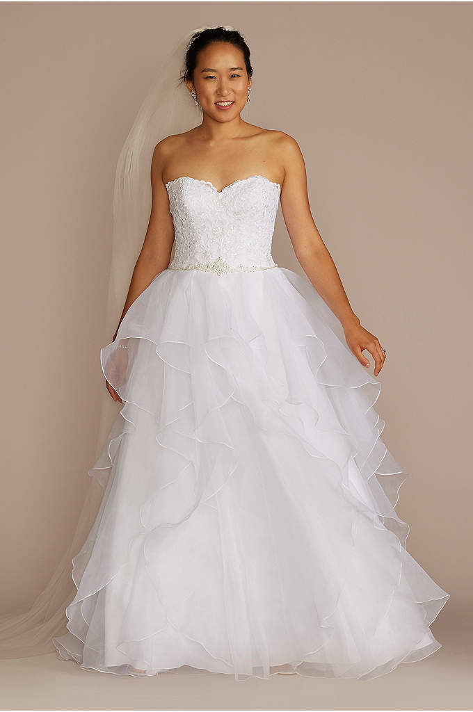 Lace and Organza Petite Wedding Ball Gown - With a petite wedding dress this romantic, only
