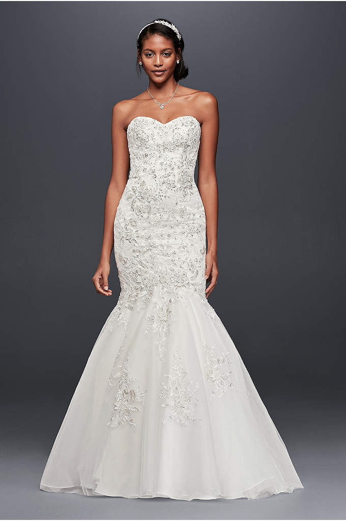 Petite Metallic-Beaded Lace Wedding Dress - A hint of metallic gleam radiates from the