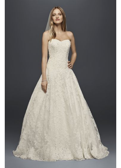 Petite Allover Beaded Ball Gown Wedding Dress | David\'s Bridal