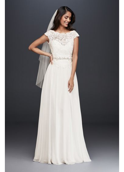 Illusion Lace And Chiffon Petite Wedding Dress David S Bridal