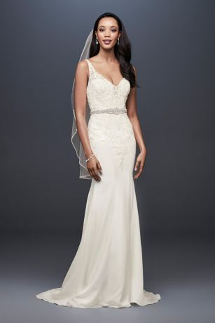 77504c650955 Crepe Petite Mermaid Wedding Dress with Embroidery | David's Bridal