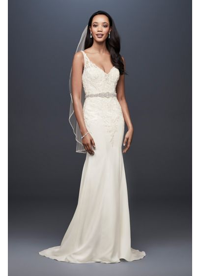 8760519ee57 Crepe Petite Mermaid Wedding Dress with Embroidery - This crepe mermaid wedding  dress follows your figure