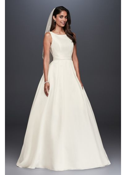 High-Neck Mikado Petite Ball Gown Wedding Dress | David\'s Bridal