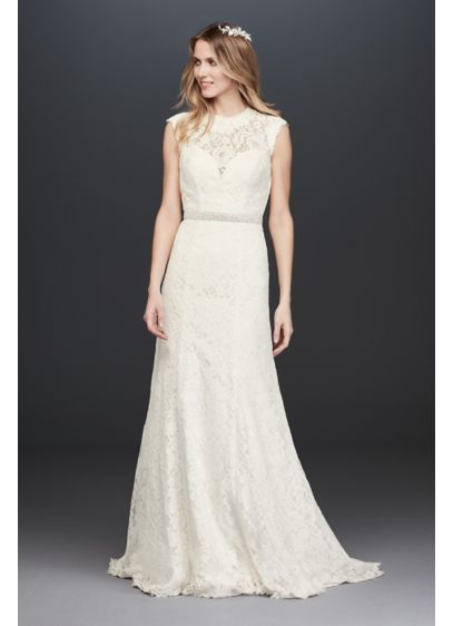 Allover Lace Cap Sleeve Petite Wedding Dress - This cap sleeve sheath wedding dress is simply