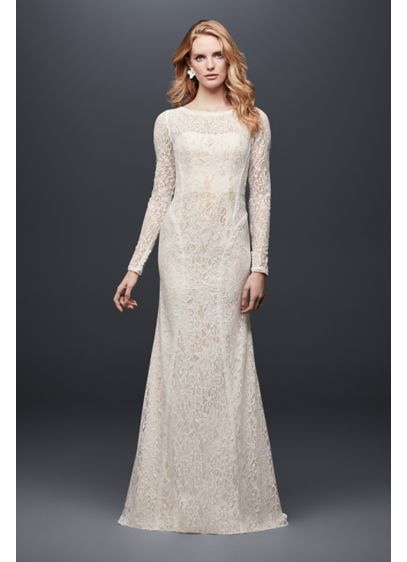 Allover Lace Long-Sleeve Petite Wedding Dress - Playful details elevate this simple lace long-sleeve sheath