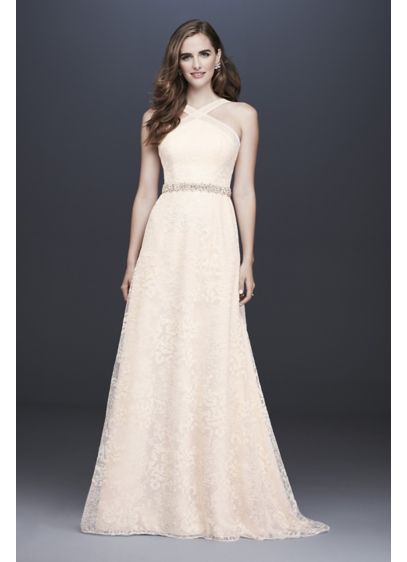 Embroidered Lace Y-Neck Petite Wedding Dress - Embroidered, nature-inspired motifs give this A-line wedding dress