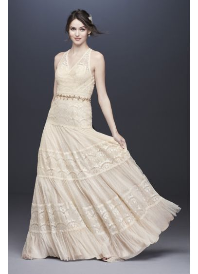 Lace and Point D'Esprit Petite Wedding Dress - Vintage-inspired and romantic, this wedding dress is tiered