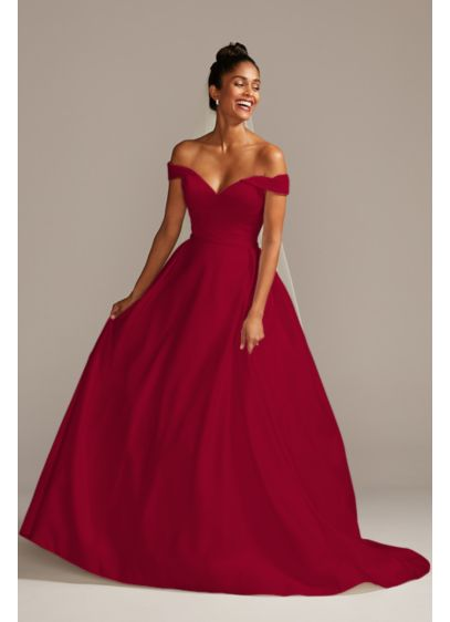 Off the Shoulder Satin Gown Petite Wedding Dress - A classic ballgown silhouette gets a modern, romantic