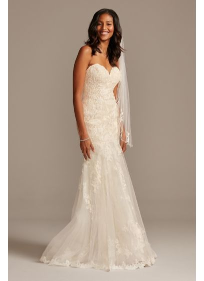 Layered Lace Petite Mermaid Wedding Dress - Romantically layered Chantilly lace creates the curve-hugging mermaid