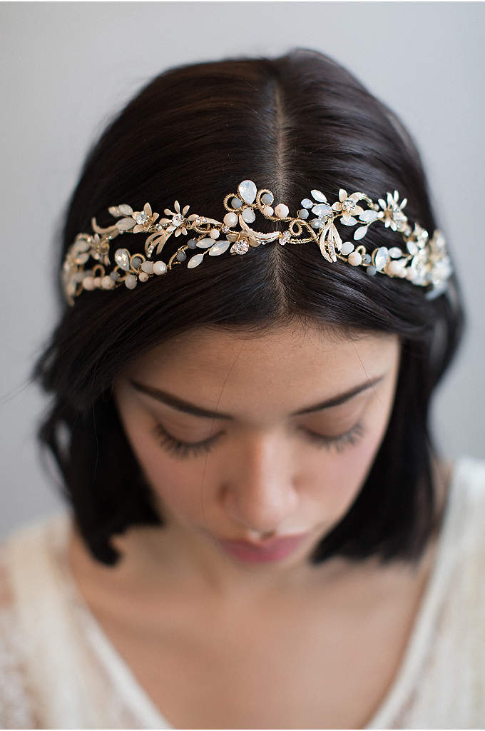 Mermaid's Blushing Tiara - This ocean-inspired tiara glows with hand-wired seaflower charms,
