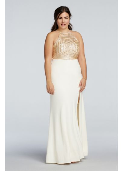 Sequin High Neck Prom Dress with Side Slit Skirt | David\'s Bridal