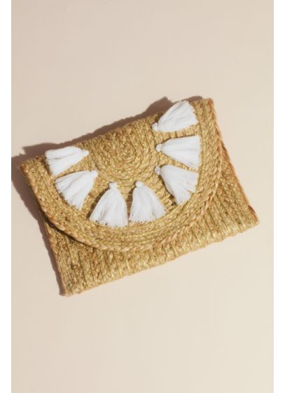 Woven Jute Envelope Clutch with Tassels - Be it day or night, beach, brunch, or
