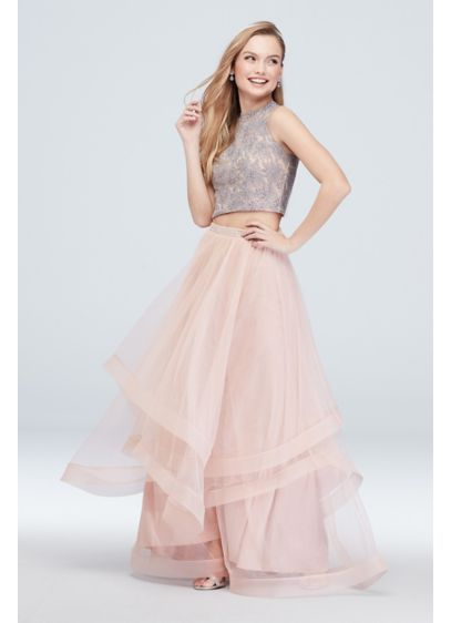 Lace Top and Crystal Belted Skirt Two Piece - Flirty and fun, this two-piece set features a