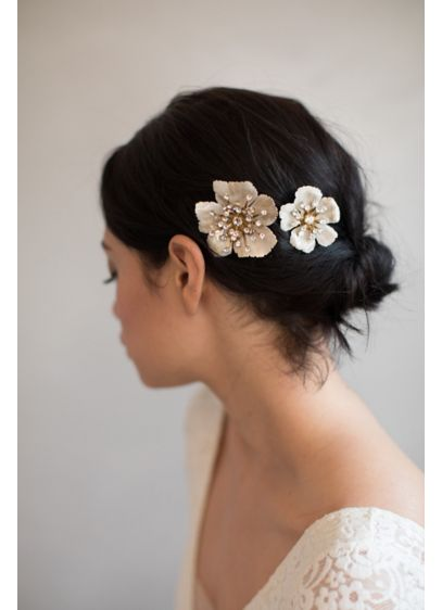 Brushed Enamel Hair Comb Set - Wedding Accessories