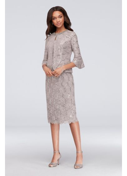 e531117ba91 Tea Length Sheath Jacket Cocktail and Party Dress - Alex Evenings
