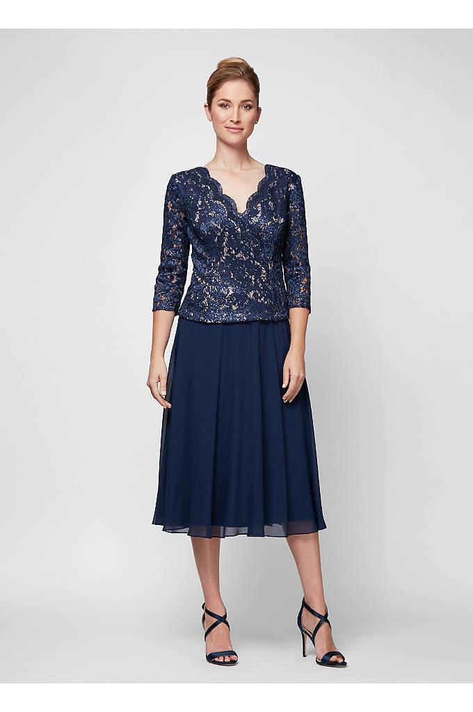 Metallic Lace and Chiffon Surplice Popover Dress - Shimmering scalloped lace creates the pretty surplice bodice