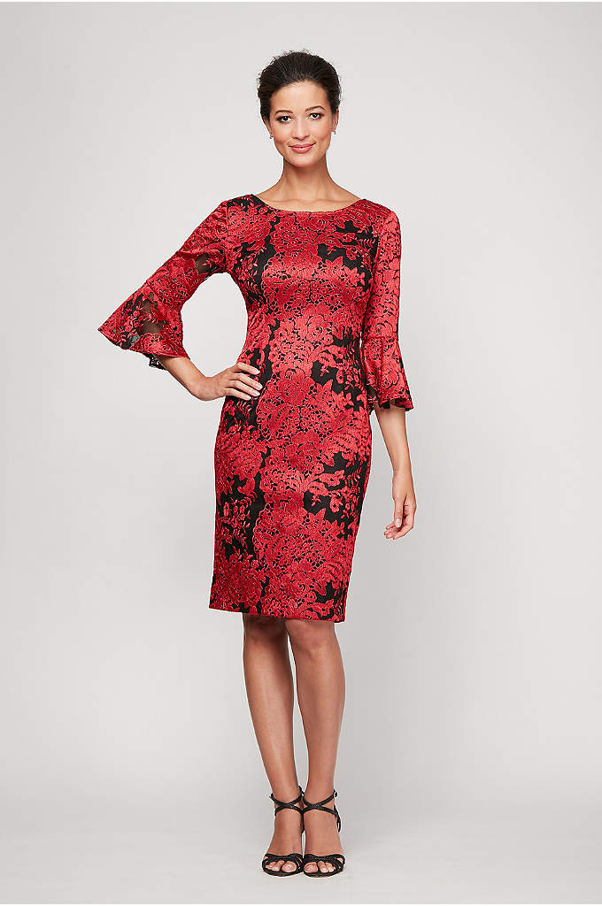 Short Embroidered Shift Dress with Bell Sleeves
