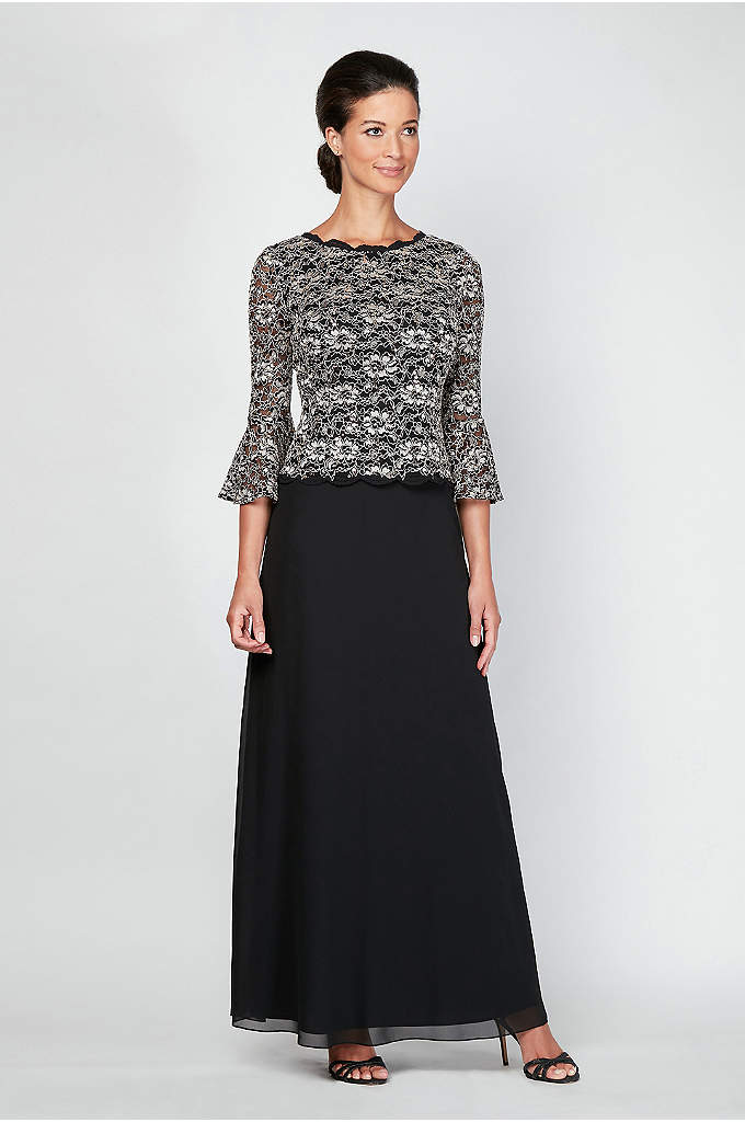 Long A-Line Mock Dress with Illusion Bell Sleeves - This classically beautiful mock dress features a scalloped