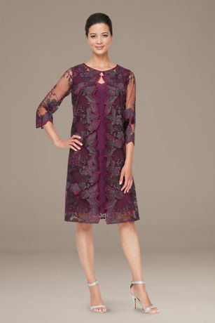 Tea Length Sheath 3/4 Sleeves Dress - Alex Evenings