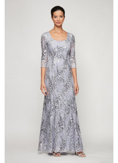 3/4 Sleeve Sequin Lace Scoopneck Mermaid Dress - Swirling sequin stripes lend glamorous shine to this
