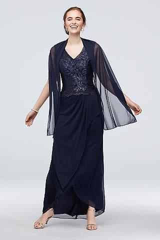 Vestido De Encage Y Mesh Falda Plisada Con Chalna