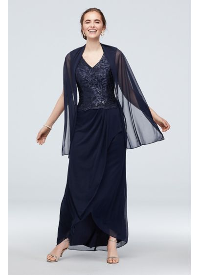 Lace Bodice and Mesh Ruched Skirt Gown with - This wow-worthy V-neck dress combines a shimmering sequin