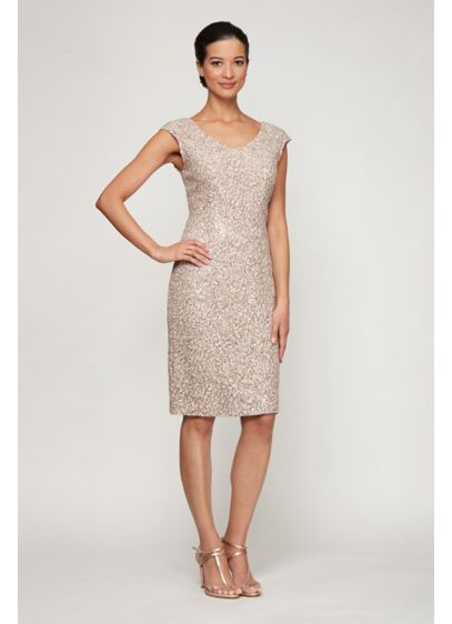 Short Corded Sequin Cap Sleeve Sheath Dress - Swirling sequins and corded embroidery top this short-and-sweet