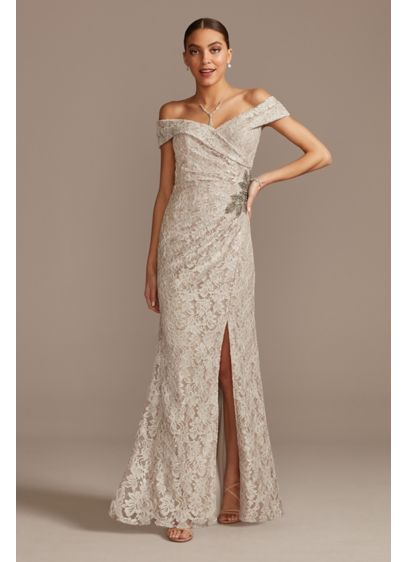 Off the Shoulder Lace Gown with Embellished Detail - For an elegant special occasion look, try this