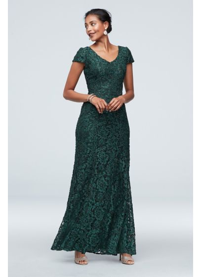 Shimmer Corded Lace Cap Sleeve Gown - Dynamic and dramatic, this cap sleeve sheath is