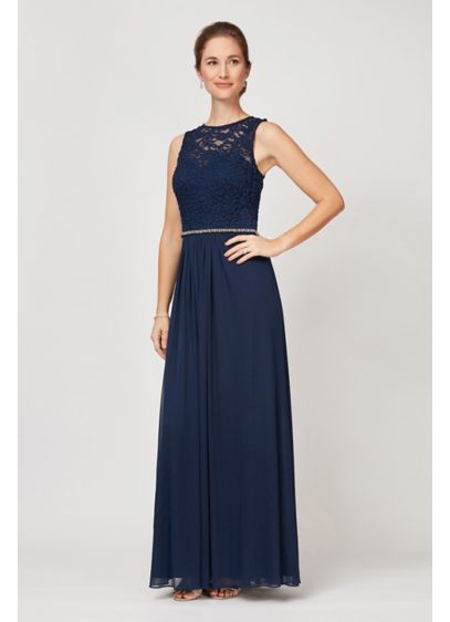 Illusion Lace A-Line Dress with Sparkle Waist - Featuring an illusion lace bodice, an embellished waist,