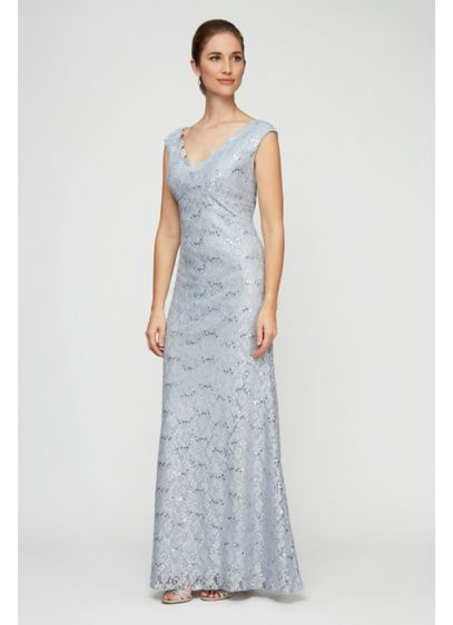 Long Scalloped Lace Cap Sleeve Dress with Shawl - A scalloped V-neck and V-back lend this beautiful