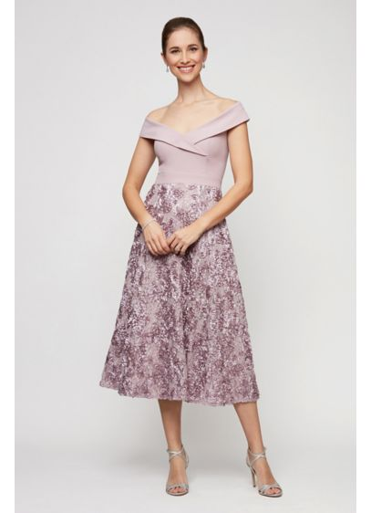 Tea Length A-Line Off the Shoulder Mother and Special Guest Dress - Alex Evenings