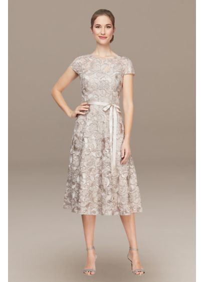 Lace Tea-Length A-Line Dress with Cap Sleeves - Sparkle all night long in this gorgeous party