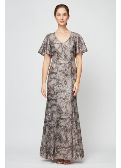 Long Foil Printed V-Neck Flutter Sleeve Dress - Sequin lace adds stunning sparkle to this long