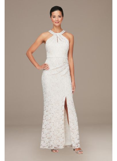 Long Halter Lace Sheath Dress with Skirt Slit - You'll look fabulous in this long lace halter