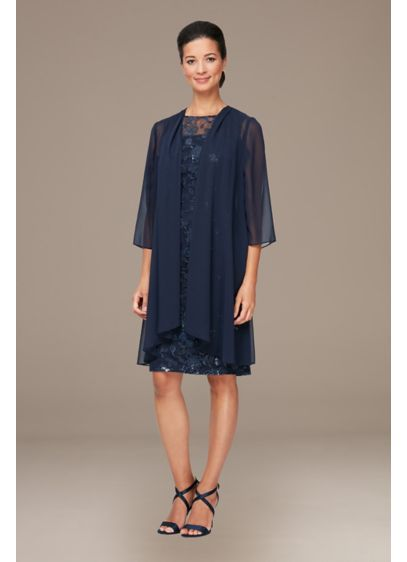 Embroidered Sheath Dress with Long Chiffon Jacket - Gorgeous for guests and perfect for moms, this