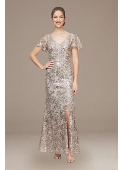 Long Sequin Tulle V-Neck Gown with Flutter Sleeves - This embroidered stretch tulle V-neck dress is full