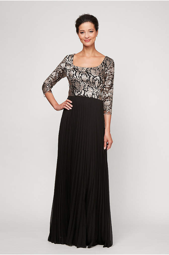 Embroidered 3/4 Sleeve Dress with Pleated Skirt