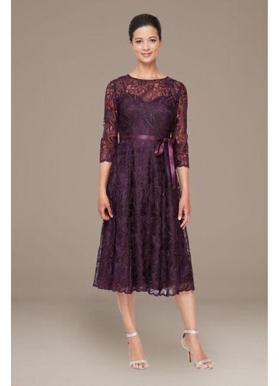 Short A-Line 3/4 Sleeves Dress - Alex Evenings