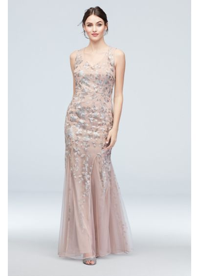 Embroidered Sequin Flower V-Neck Tulle Gown - Intricate embroidered floral lace and beadwork embellish this