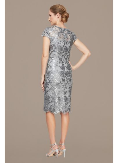 Embroidered Sequin Short Cap Sleeve Sheath Dress - Adorned with floral embroidery and sparkling sequins, this