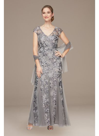 Cap Sleeve Embroidered Mermaid Godet-Hem Gown - This regal embroidered mermaid dress is luxuriously detailed