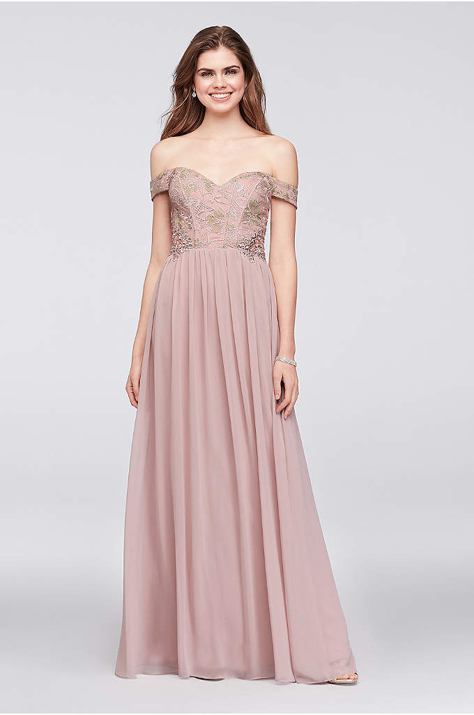 Off-the-Shoulder Lace and Chiffon Corset Gown - Corset boning defines the off-the-shoulder lace bodice of