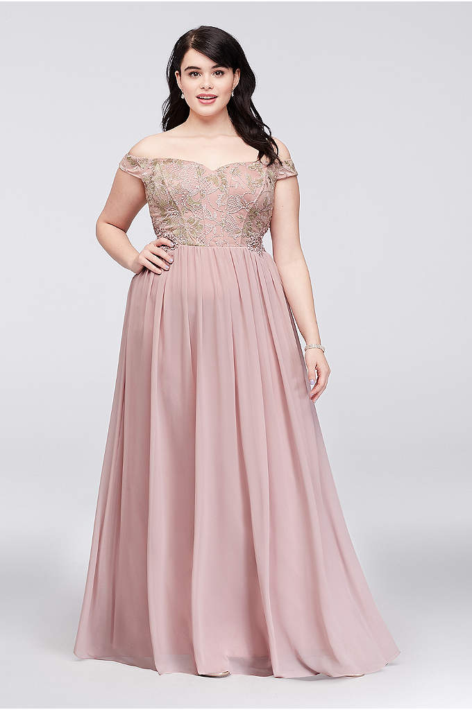 Off-the-Shoulder Lace Corset Plus Size Gown - Corset boning defines the off-the-shoulder lace bodice of