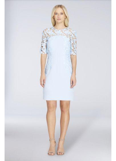 fb82fb04913 Illusion Lace and Crepe Short Sheath Dress