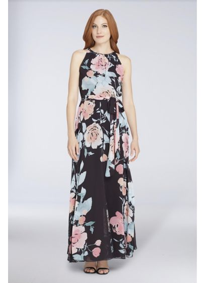 Long A-Line Halter Cocktail and Party Dress - Tahari ASL