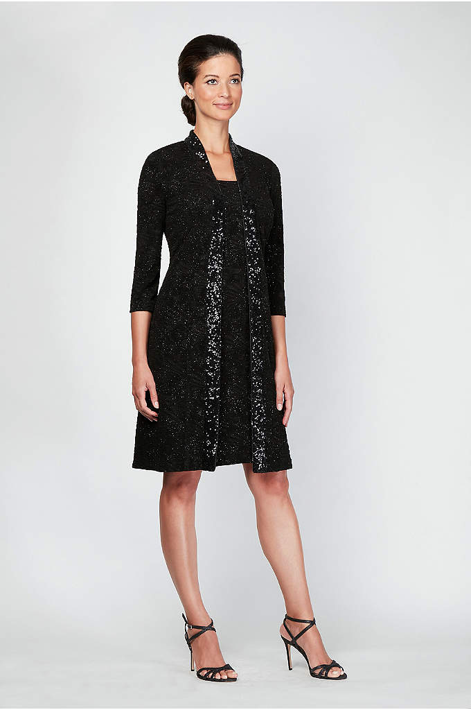 Midi Tank Dress and Long Sequin-Trimmed Jacket - A long, sequin-trimmed jacket adds extra glamour to